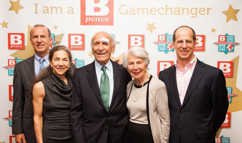 The Jaffe family celebrates at Bpeace's 10th anniversary Gala. From left: Richard, Lynette, Elliot, Roslyn, and David Jaffe. David's wife Helen, also in attendance, is not pictured in this photo.
