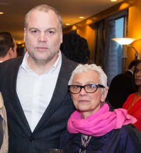 Sandy DiPasqua (right) at the Bpeace Gala with her friend, actor Vincent D'Onofrio.