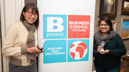 two women with bpeace logo